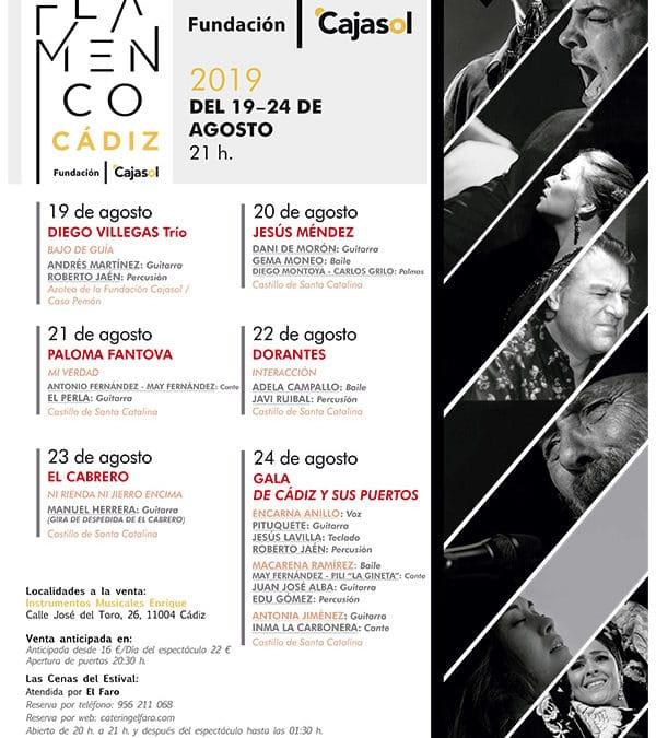 Diego Villegas, Jesús Méndez, Paloma Fantova, Dorantes y 'El Cabrero', en el III Estival Flamenco Cádiz