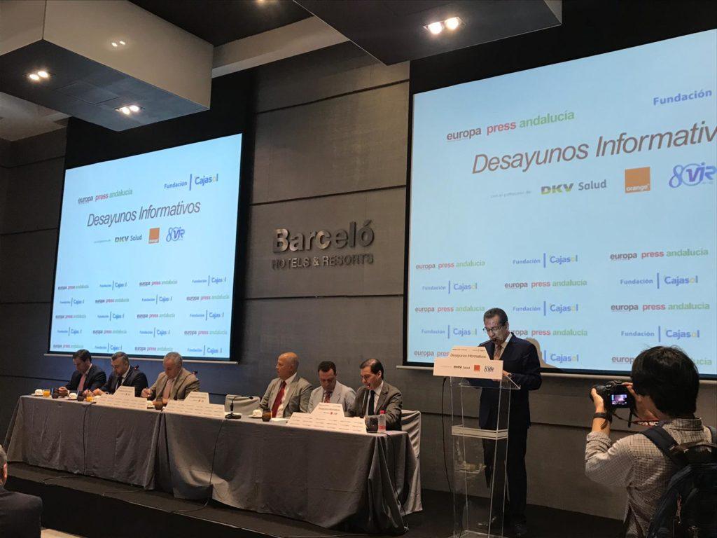 Antonio Pulido, durante su intervención en los Desayunos Informativos de Europa Press con Javier Imbroda
