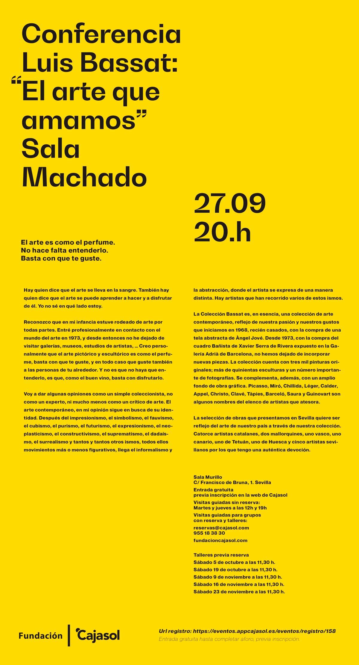Cartel de la conferencia de Luis Bassat en la Fundación Cajasol