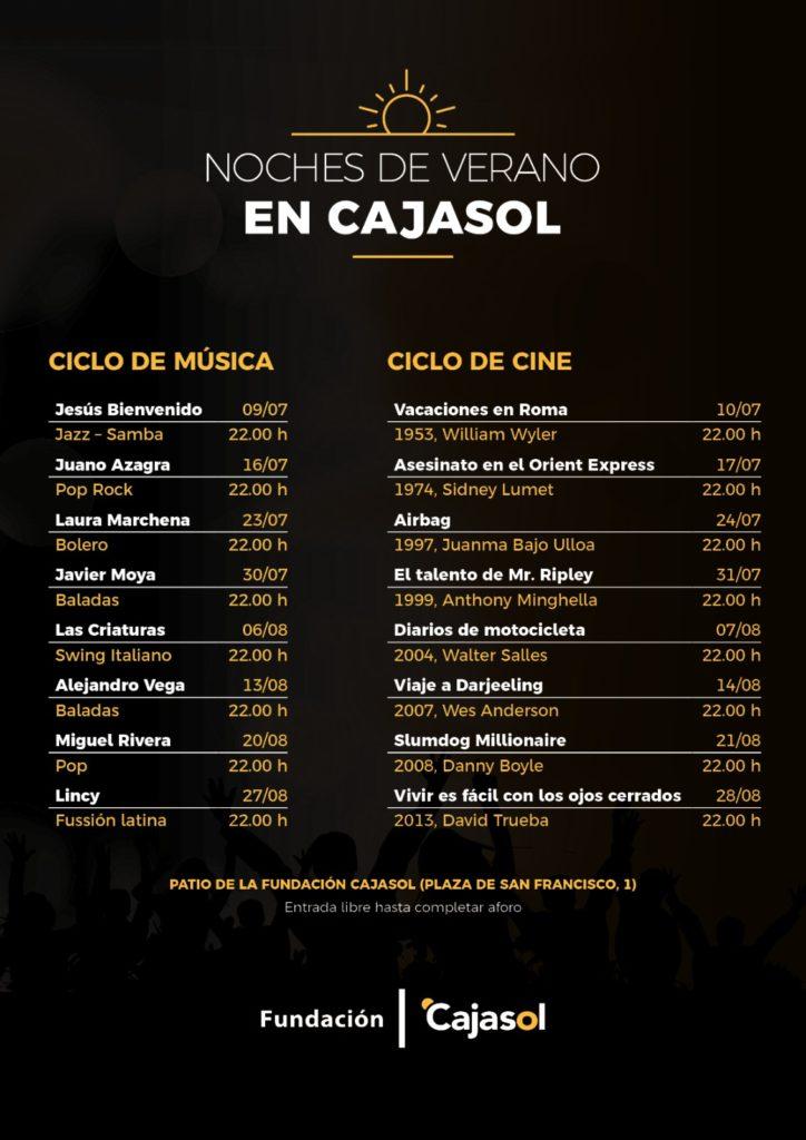 Cartel del ciclo 'Noches de Verano Cajasol' 2020 en Sevilla