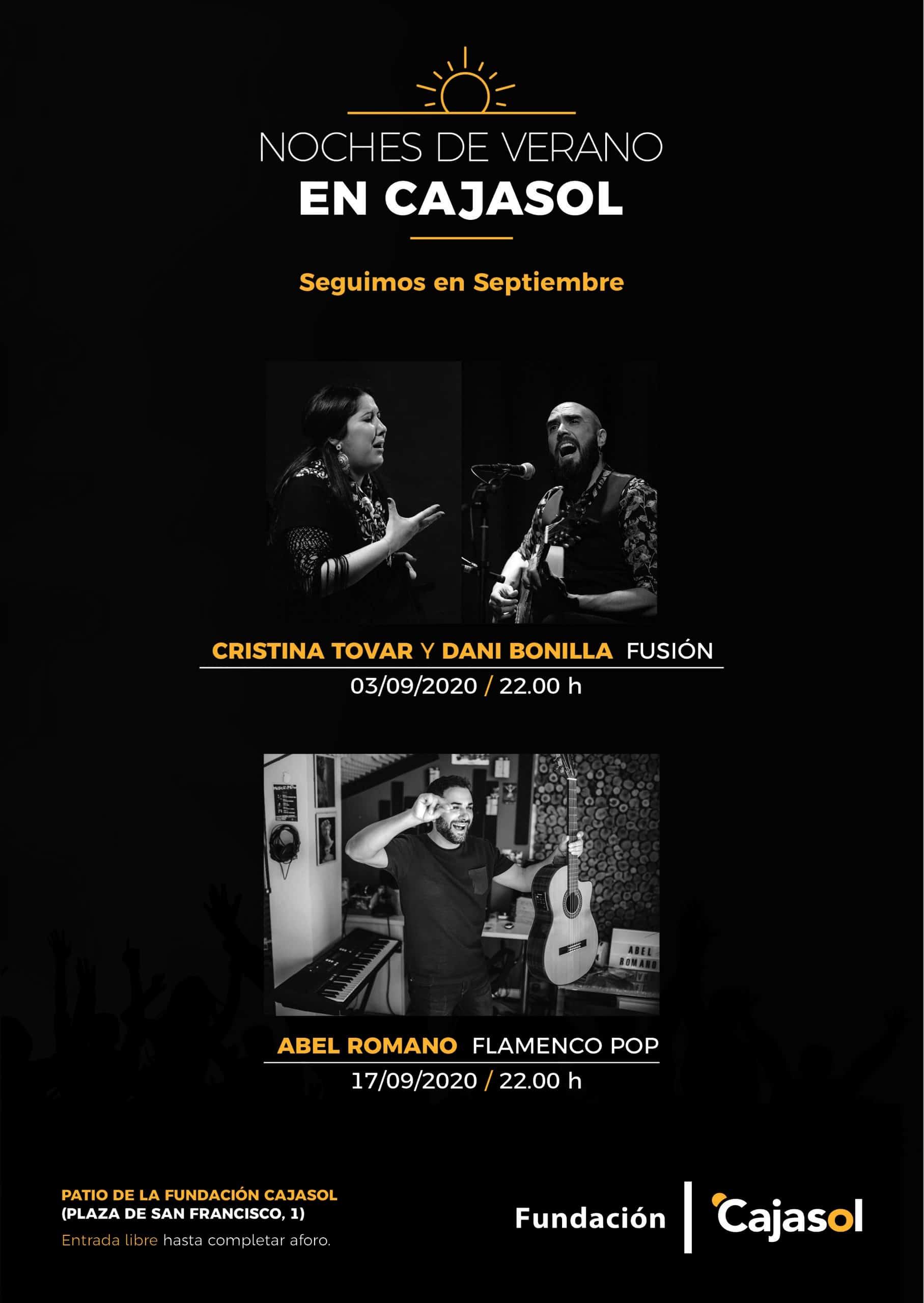 Cartel de las Noches de Verano Cajasol en Sevilla durante el mes de septiembre 2020