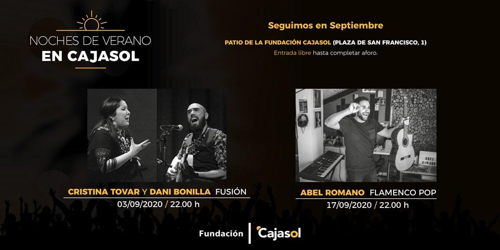 Cartel de nuevas actuaciones en las Noches de Verano Cajasol para el mes de septiembre