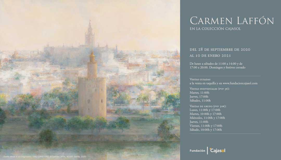 Cartel con información sobre la exposición 'Carmen Laffón en la Colección Cajasol'