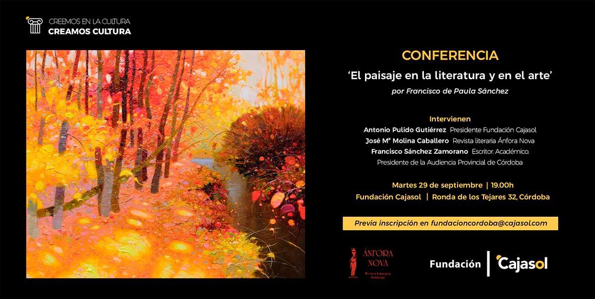 Invitación para la conferencia 'El paisaje en la literatura y en el arte' en Córdoba