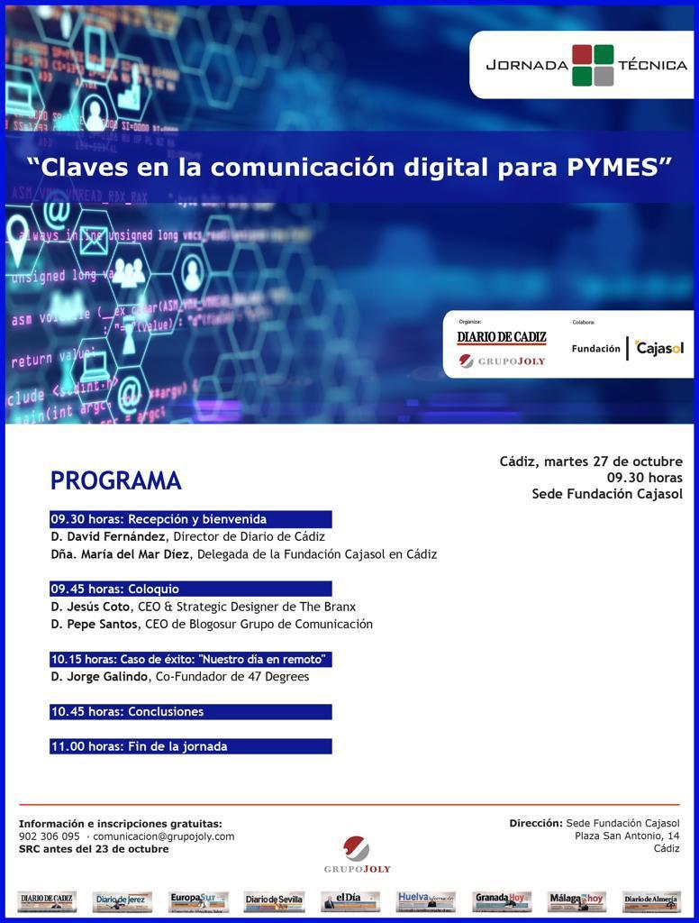 Cartel de la jornada técnica sobre 'Claves en la Comunicación Digital para Pymes' en Cádiz