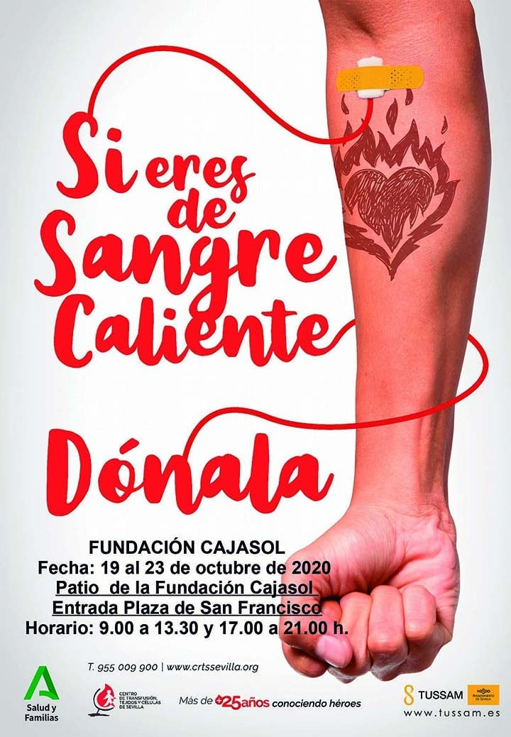 Cartel de donación de sangre en la sede de la Fundación Cajasol en Sevilla