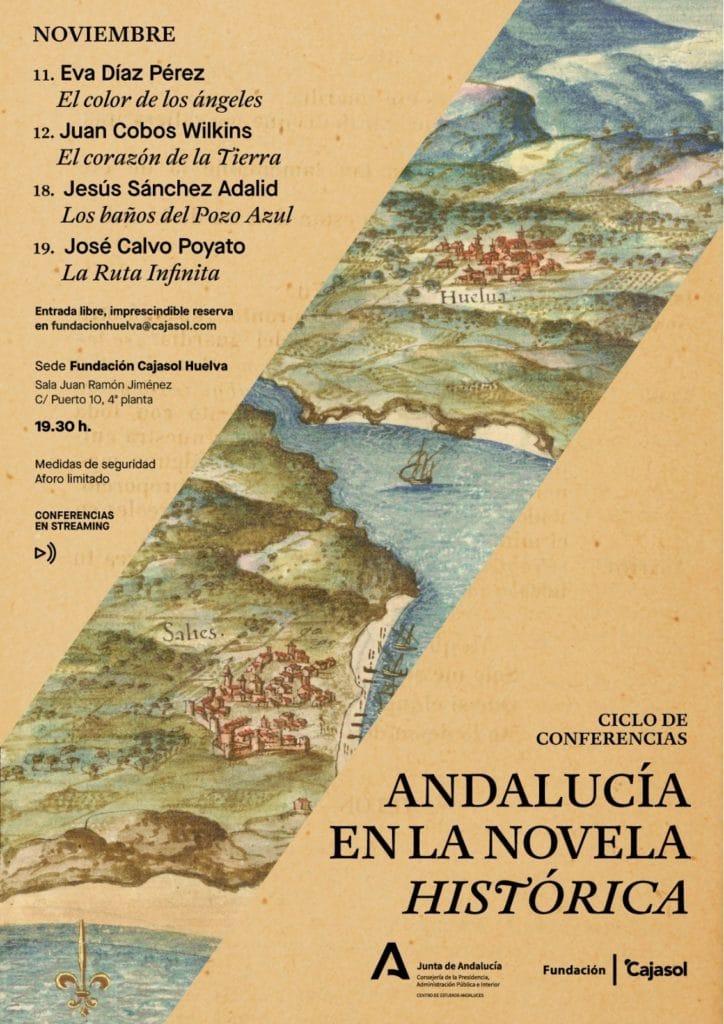 Cartel de las jornadas de novela histórica en la sede de la Fundación Cajasol en Huelva
