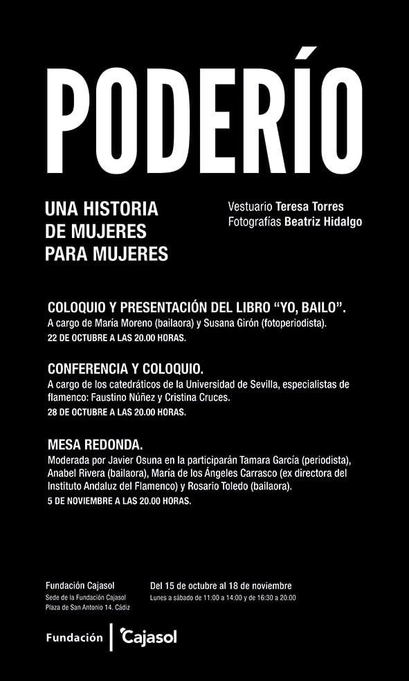 Cartel de los talleres con motivo de la exposición 'Poderío' en Cádiz