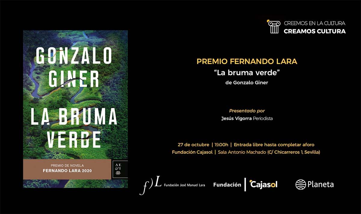 Invitación a la presentación de la obra 'La bruma verde', de Gonzalo Giner, en Sevilla